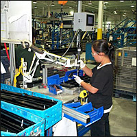 Assembly worker using the Intell X-16.